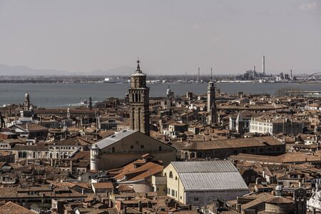 Panoramic view of Venice Italy from St Marks Campanile Reklamní fotografie - 127782365