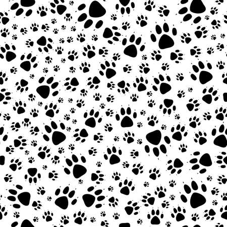 Paw print seamless.Traces of Dog Textile Pattern. Dog footprint seamless pattern. Vector seamless