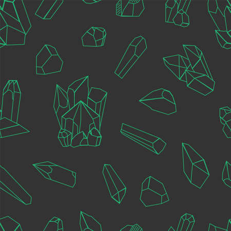 Vector green crystal pattern on black background.eamless pattern can be used for wallpaper, pattern fills, web page background,surface textures and fabrics. Black and white design