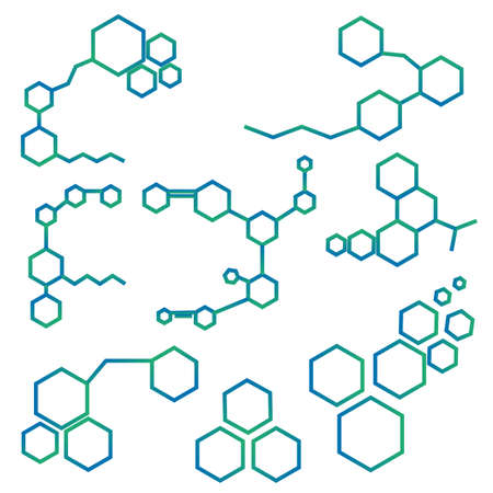 Molecule structure logo or biology model sign vector. Set of logo with structure molecule, illustration of logotype molecule for laboratory Standard-Bild - 100218307