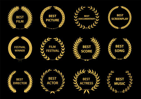 Conjunto de coronas de premios de cine. Logotipo de premios de cine. Mejor vector de premio, logotipo de premio, logotipo de ganador, nominado al festival de cine.Ilustración de vector