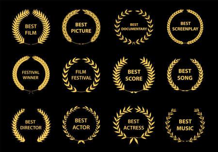 Zestaw wieńców nagród filmowych. Logo nagród filmowych. Najlepszy wektor nagrody, logo nagrody, logo zwycięzcy, nominowany do festiwalu filmowego. Ilustracja wektorowa