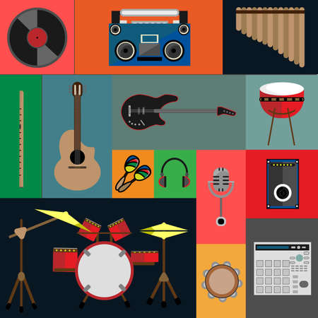 Musical Instruments for Folk, Indie and Rock icons vector illustration. Flat design illustration with a variety of icons of musical instruments for popular music