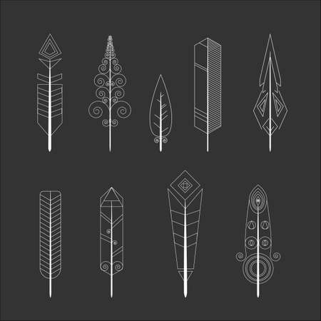 Feather vector icons. Simple illustration set of 9 Feather elements, editable icons, can be used in UI and web design.