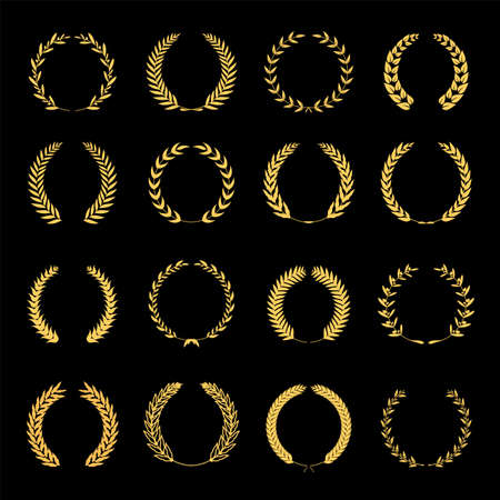 Collection of different golden silhouette circular laurel foliate, wheat and oak wreaths depicting an award, achievement, heraldry, nobility. Vector illustration. Иллюстрация