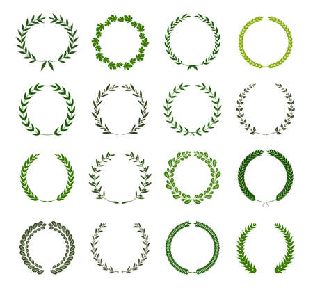 Collection of different green silhouette circular laurel foliage, wheat and oak wreaths depicting an award, achievement, heraldry, nobility. Vector illustration. Banco de Imagens - 100362840