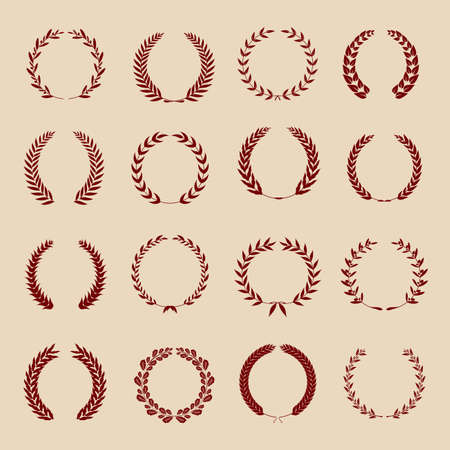 Collection of different red vintage silhouette circular laurel foliage, wheat and oak wreaths depicting an award, achievement, heraldry, nobility. Vector illustration.