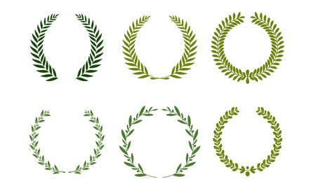 Collection of different green silhouette circular laurel foliage, wheat and oak wreaths depicting an award, achievement, heraldry, nobility. Vector illustration.