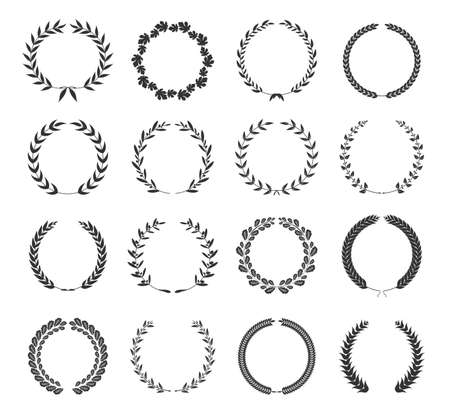 Collection of different black silhouette circular laurel foliage, wheat and oak wreaths depicting an award, achievement, heraldry, nobility. Vector illustration.