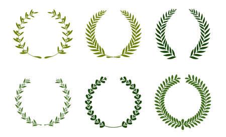 Colección de follaje de laurel circular de silueta verde diferente, coronas de trigo y roble que representan un premio, logro, heráldica, nobleza. Ilustración de vector.