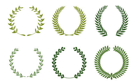 Collection of different green silhouette circular laurel foliage, wheat and oak wreaths depicting an award, achievement, heraldry, nobility. Vector illustration. Stockfoto - 100375381