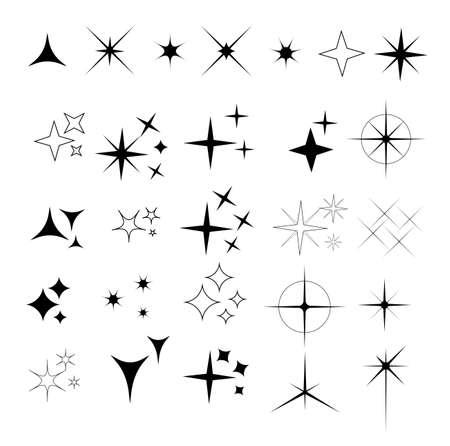 Collection of sparkle vector illustrations. Sparkles black symbols. Sparkle star. Glowing light effect star. 일러스트