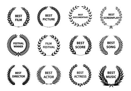 Collection of different golden silhouette circular laurel foliate, wheat and oak wreaths depicting an award. Vector illustration. Illustration
