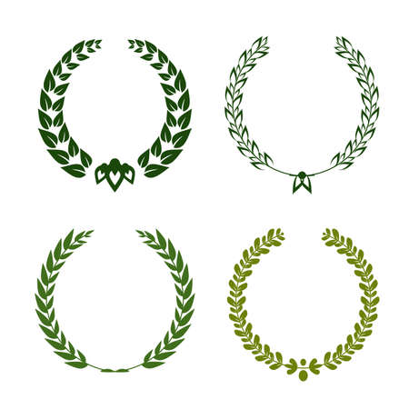 Collection of different green silhouette circular laurel foliate, wheat and oak wreaths depicting an award, achievement, heraldry, nobility. Vector illustration. Ilustração