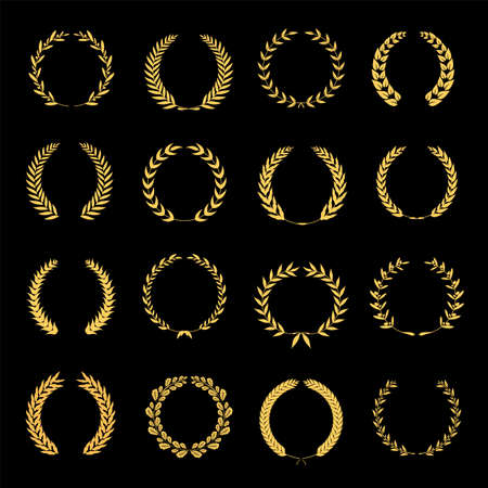 Collection of different golden silhouette circular laurel foliate, wheat and oak wreaths depicting an award. Vector illustration. Ilustração
