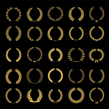 Collection of different golden silhouette circular laurel foliage, wheat and oak wreaths depicting an award, achievement, heraldry, nobility. Vector illustration.