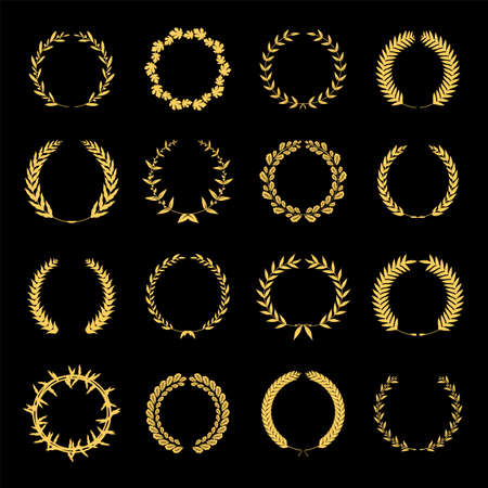 Collection of different golden silhouette circular laurel foliate, wheat and oak wreaths depicting an award, achievement, heraldry, nobility. Vector illustration. Ilustração