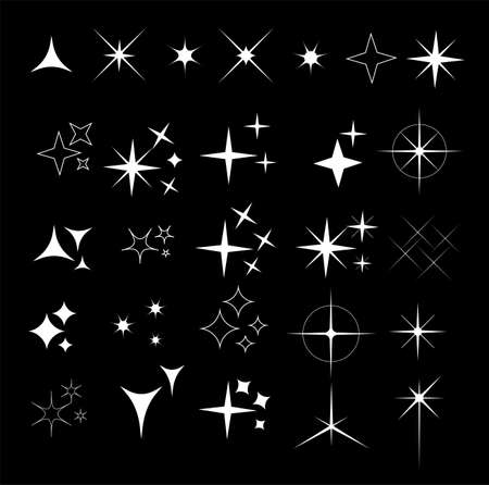 Collection of sparkle vector illustrations. Sparkles black symbols. Sparkle star. Glowing light effect star. Illustration