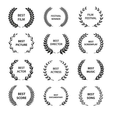 Coronas de laurel de vector dorado sobre fondo negro. Conjunto de corona de premio foliado para festival de cine.Ilustración de vector.