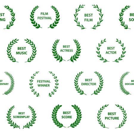 Black and white film award wreaths. Seamless pattern. Vector illustration.