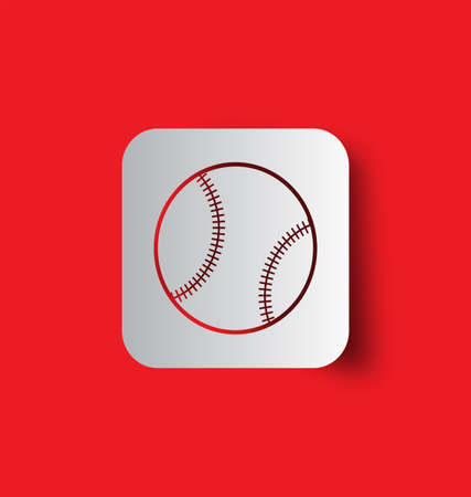 Baseball line icon isolated on red background. Vector illustration Иллюстрация