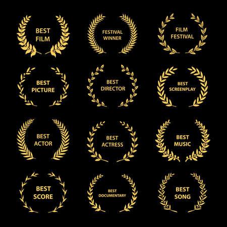 Gouden vector lauwerkransen op zwarte achtergrond. Set van foliate award krans voor bioscoop festival. Vectorillustratie. Vector Illustratie