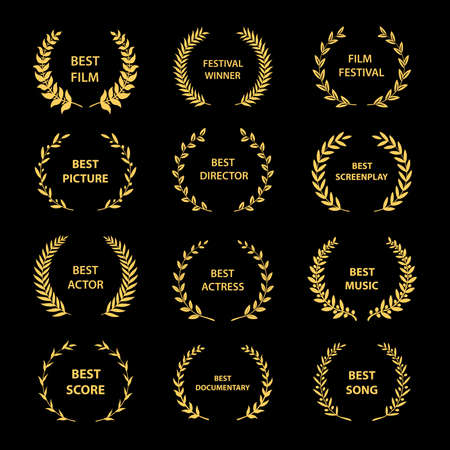 Golden vector laurel wreaths on black background. Set of foliate award wreath for cinema festival.Vector illustration.