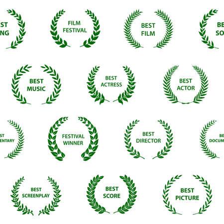 Couronnes de prix de film noir et blanc. Modèle sans couture. Illustration vectorielle. Vecteurs