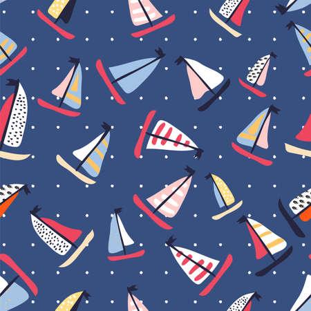 Modèle vectorielle continue avec des voiliers dessinés à la main avec des baleines et des poissons. Fond lumineux d'été pour la conception de tissu.
