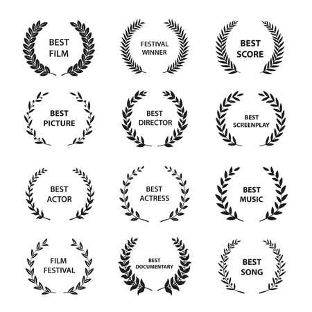 Corone di alloro di vettore dorato su sfondo nero. Set, di, foliate, premio, corona, per, cinema, festival., Vettore, illustration.