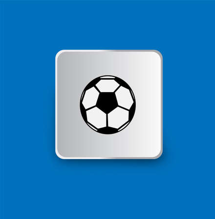 Soccer football line icon isolated on blue background. Vector illustration