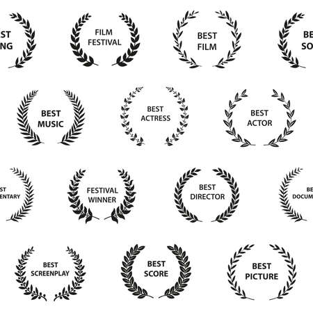Black and white film award wreaths. Seamless pattern. Vector illustration. 向量圖像