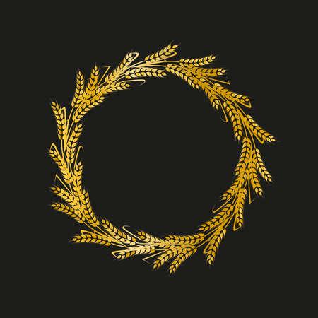 Golden vector laurel wreaths on black background. oliate award wreath for cinema festival.Vector illustration.