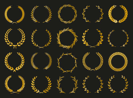 Golden vector laurel wreaths on black background. Set of foliate award wreath for cinema festival. Vector illustration. Illustration
