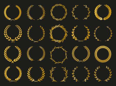 Golden vector laurel wreaths on black background. Set of foliate award wreath for cinema festival. Vector illustration. Illustration