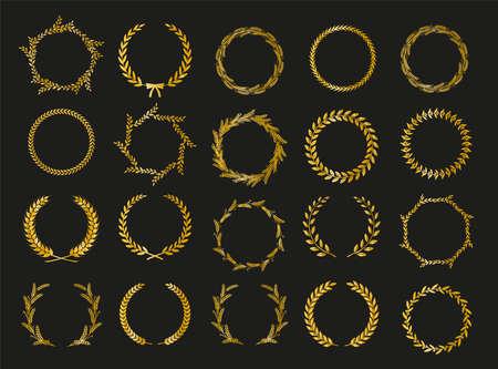 Golden vector laurel wreaths on black background. Set of foliate award wreath for cinema festival. Vector illustration. Иллюстрация