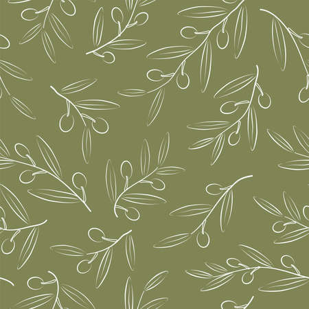 Olive branch with berries and leaves on green background.Seamless pattern