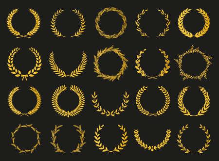 Golden vector laurel wreaths on black background. Set of foliate award wreath for cinema festival.Vector illustration. Vektorové ilustrace