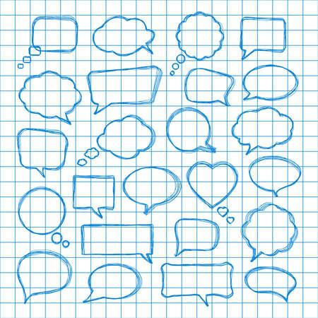 Set of hand-drawn speech bubbles. Vector illustration. Иллюстрация