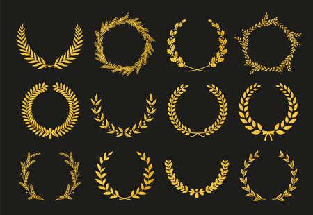 Goldene Vektorlorbeerkränze auf schwarzem Hintergrund. Satz Blattkranz für Kinofestival. Vektorillustration. Vektorgrafik