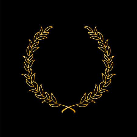 Golden vector laurel wreaths on black background. Foliate award wreath for cinema festival.Vector illustration.