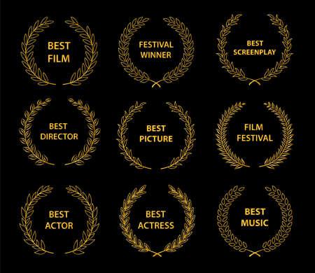 �žÑ'�º�»ÑŽÑ‡�¸Ñ'ÑŒ �´�»Ñ� Ñ��·Ñ‹�º�°: руÑ�Ñ��º�¸�¹Film awards wreaths set.  Film awards logo. Best award vector, award logo, winner logo, film festival nominee.Vector illustration Stock Illustratie