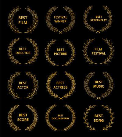 Отключить дл� �зыка: ру��кийFilm awards wreaths set.  Film awards logo. Best award vector, award logo, winner logo, film festival nominee.Vector illustration