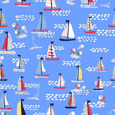 Seamless vector pattern with hand drawn sailing yachts with whales and fish. Summer bright background for fabric design.