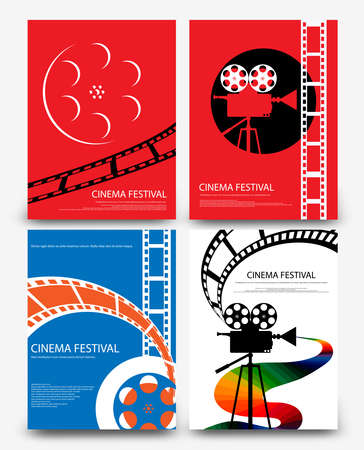 Ensemble de film abstrait et film rétro vintage affiche modèle fond illustration vectorielle