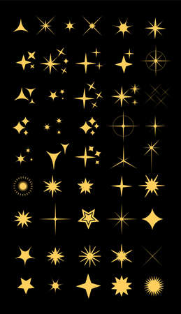 Collection of sparkle vector illustrations. Sparkles colorful symbols. Sparkle star. Glowing light effect star. Иллюстрация