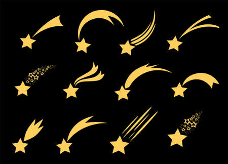 Shooting stars icons. Vector falling star silhouettes or comets isolated on black background. Golden star with tail illustration.