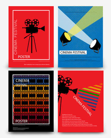 Set of abstract movie and film modern retro vintage poster template background vector illustration