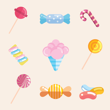 Candy collection from lollipop, candy cane