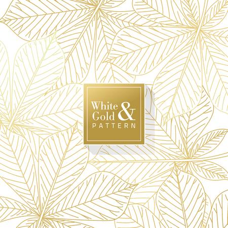 Golden Leaves Background Pattern